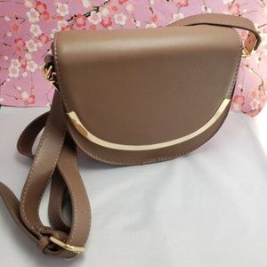 Forever 21 taupe brown horseshoe cross body bag